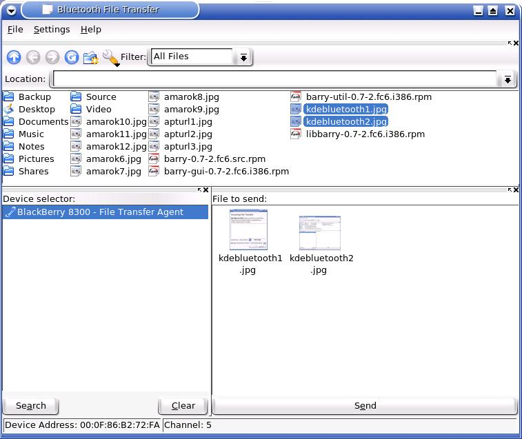 kdebluetooth screenshot